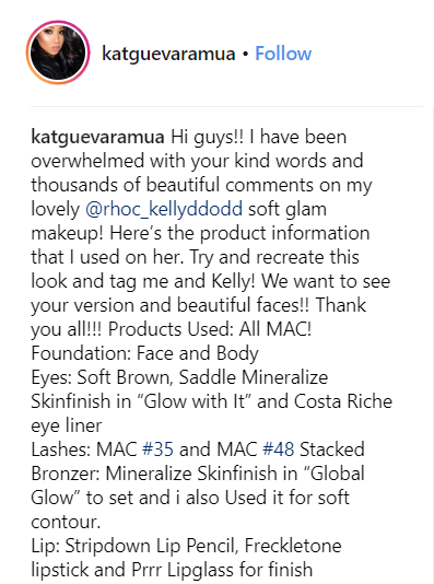 Kelly Dodd's Reunion Makeup details by @katguevaramua