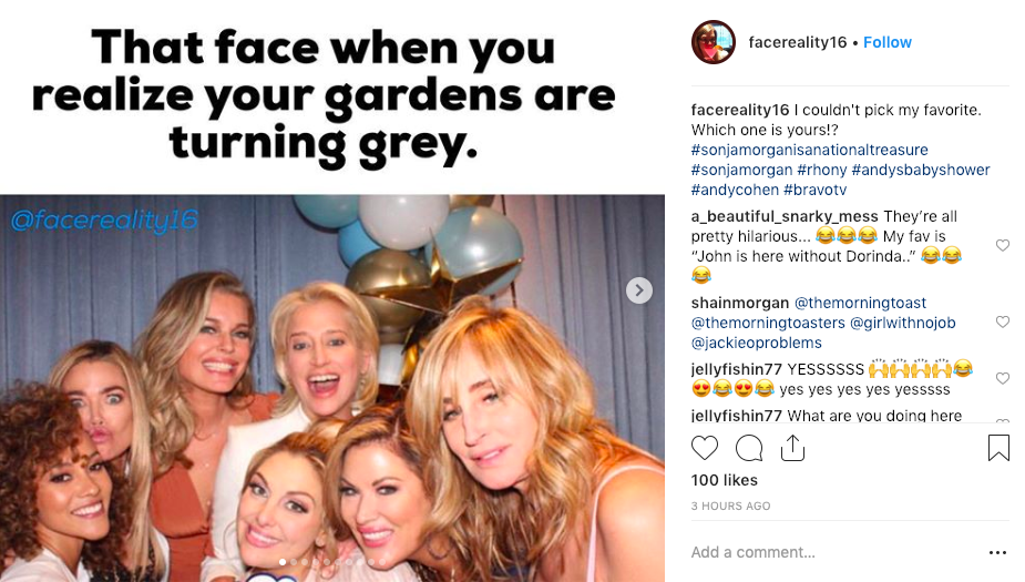 Real Housewives Sonja Morgan meme by @facereality16