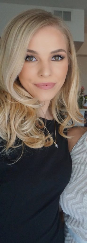 Me with Mid Length Hair Curled at the ends and Girl Get Glamorous Clip in Hair Extensions @blushinginhollywood