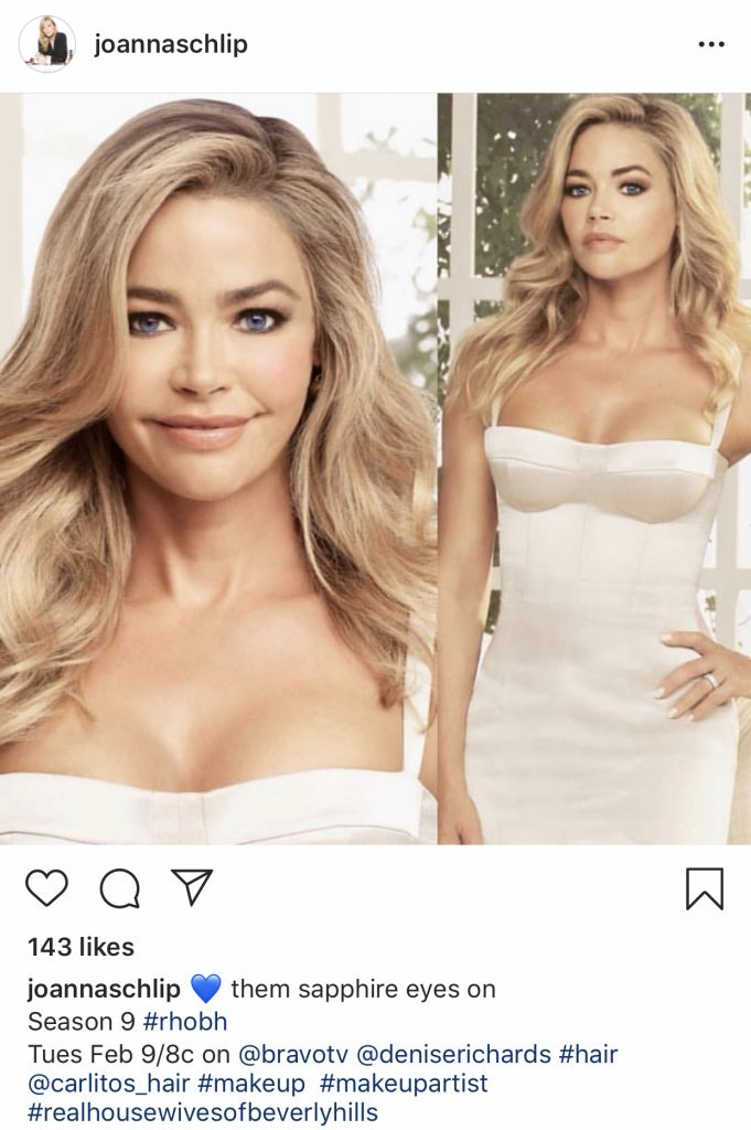 Denise Richards Real Housewives of Beverly Hills promo photos. Makeup by Joanna Schlip and hairstylist @carlitos_hair. Photo: @joannaschlip on Instagram
