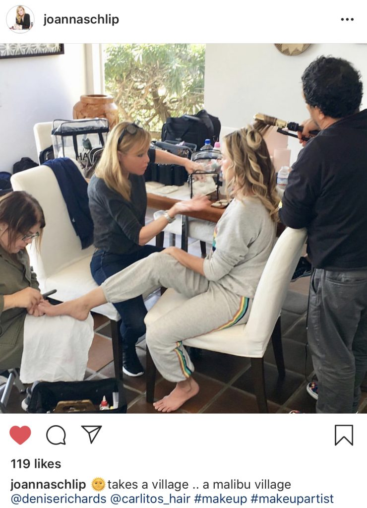Denise Richards and her Real Housewives of Beverly Hills glam squad including makeup artist Joanna Schlip and hair stylist @carlitos_hair Photo: @joannaschlip on Instagram